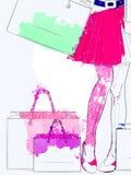 Watercolor shopping woman legs Stock Photos
