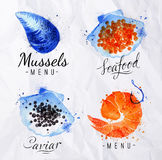 Watercolor signs seafood Stock Photos