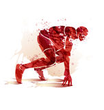 Watercolor silhouette athlete on track starting to run vector illustration