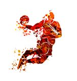 Watercolor silhouette basketball player. Vector watercolor silhouette basketball player royalty free illustration