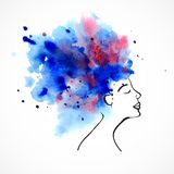 Watercolor silhouette of beautiful women. With long blue hair isolated on white. Fashion illustration Stock Photos