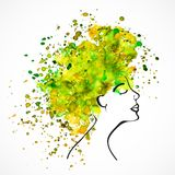 Watercolor silhouette of beautiful women. With long green and yellow hair isolated on white. Fashion illustration Stock Images