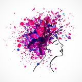 Watercolor silhouette of beautiful women. With long magenta hair isolated on white. Fashion illustration Royalty Free Stock Photography
