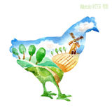 Watercolor silhouette of a chicken with a countryside. Country, mill, fields, trees, summer road Stock Photos