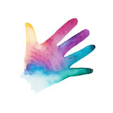 Watercolor silhouette of children's hand. Rainbow watercolor silhouette of children's hand isolated on white background Stock Photos