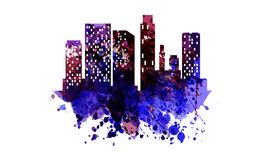 Watercolor silhouette of the city Royalty Free Stock Photo