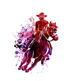 Watercolor silhouette of cowboy on a horse. Vector watercolor silhouette of cowboy on a horse Royalty Free Stock Photo