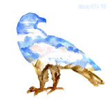 Watercolor silhouette of a eagle with a mountains view Royalty Free Stock Photos
