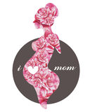 Watercolor silhouette of a mother and heart, symbol of pregnant woman Stock Photography