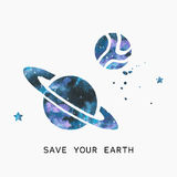 Watercolor silhouette of planets and stars. Royalty Free Stock Image