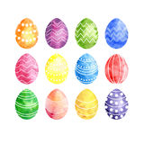 Watercolor silhouettes of easter eggs Stock Photography