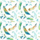 Watercolor silhouettes of flying birds and feathers. Seamless pattern Stock Photography