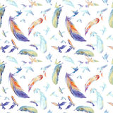 Watercolor silhouettes of flying birds. Seamless pattern Royalty Free Stock Image