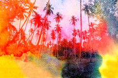 Watercolor silhouettes of palm trees Royalty Free Stock Photos
