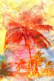 Watercolor silhouettes of palm trees Stock Images