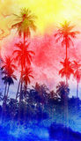 Watercolor silhouettes of palm trees Royalty Free Stock Images