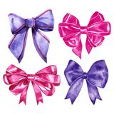 Watercolor silk bow-knots set. Four isolated colorful knots for decoration and design on white background. Violet and. Pink bows royalty free stock photography