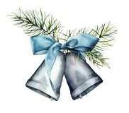 Watercolor silver Christmas bells. Hand painted scandinavian bells with blue ribbon and fir branches isolated on white. Background. Holiday symbol. Floral vector illustration