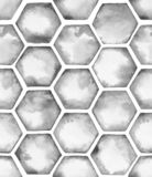 Watercolor similar pattern with grey hexahedron honeycombs stock illustration
