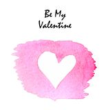 Watercolor simple  heart element for valentines Royalty Free Stock Image