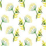 Watercolor simple herbal seamless pattern. Background with corolla flower dill. Royalty Free Stock Image
