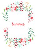 Watercolor simple red and green branches and berries floral frame. Hand painted on a white background Stock Photography