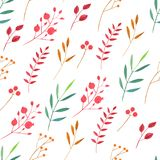 Watercolor simple red and green branches and berries seamless pattern. Hand painted on a white background Royalty Free Stock Photos