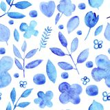 Watercolor simple silhouettes   flowers blue seamless pattern stock illustration