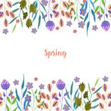Watercolor simple spring and summer purple flowers and green branches card template. Hand painted on a white background Royalty Free Stock Photos