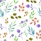 Watercolor simple spring and summer purple flowers and green branches seamless pattern. Hand painted on a white background Royalty Free Stock Photos