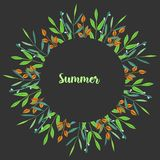 Watercolor simple summer green branches floral frame. Hand painted on a dark background Royalty Free Stock Photography