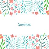Watercolor simple summer red flowers and blue branches card template. Hand painted on a white background Royalty Free Stock Photography