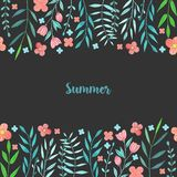 Watercolor simple summer red flowers and blue branches card template. Hand painted on a dark background Royalty Free Stock Images
