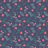 Watercolor simple summer red flowers and green branches seamless pattern. Hand painted on a dark background stock illustration
