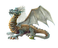 Watercolor single character mystical mythical character dragon isolated Royalty Free Stock Photography