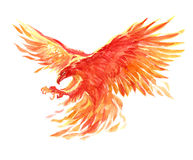 Watercolor single character mystical mythical character phoenix isolated. On a white background illustration Royalty Free Stock Photo