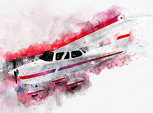 Watercolor Single Engine Private Aircraft. Watercolor Single Engine Propellers Private Aircraft Royalty Free Stock Images