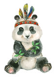 Watercolor sitting panda. Hand painted watercolor sitting panda with feathers hat in cartoon style Royalty Free Stock Images