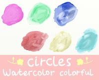 Six watercolor colorful circles. Vector watercolor colorful circles (of the wrong form): purple, green, blue, red, yellow and turquoise royalty free illustration
