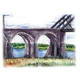 Watercolor sketch ancient stone bridge. Watercolor sketch of an ancient stone bridge with decorative arched spans Stock Photos