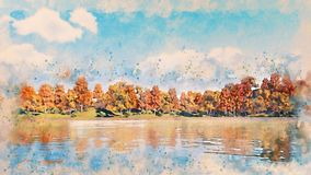 Watercolor sketch with autumn trees on lake shore stock illustration