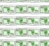 Watercolor sketch of a banknote of 100 dollars are slender lines. Seamless pattern for illustrating finance, business vector illustration