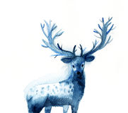 Watercolor sketch of the beautiful blue deer vector illustration