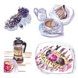 Watercolor sketch in a cafe coffee desserts grapes. Watercolor sketch in a cafe of tea and coffee with desserts and grapes Stock Photography