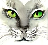 Watercolor cat. Watercolor sketch of a cat Stock Photo