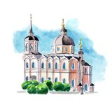 Watercolor sketch cathedral domes bell tower. Watercolor sketch of an ancient church building with domes and bell tower Royalty Free Stock Photo