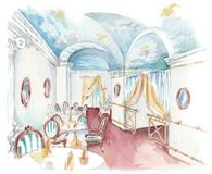 Watercolor sketch of a classic seafood restaurant interior vector illustration