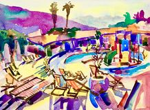 Watercolor sketch drawing of swimming pool landscape in Budva Mo Royalty Free Stock Image
