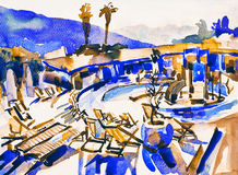 Watercolor sketch drawing of swimming pool landscape in Budva Mo Stock Photo