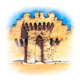 Avignon City Wall, France royalty free illustration
